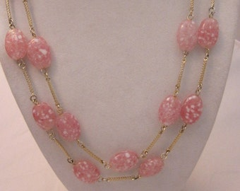 Vintage Oval Pink Glass beads with White speckles and gold tone Metal Double Strand Necklace