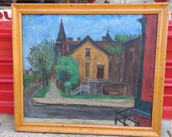 Vintage oil on canvas painting of quaint village