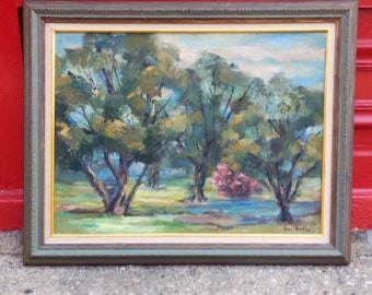 Vintage Impressionistic oil on board Landscape Painting by Fran Bradley