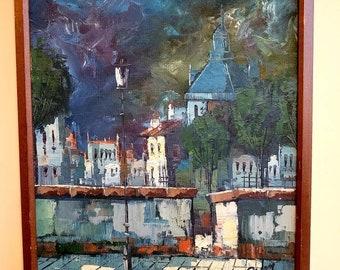 Mid century original impressionist painting of European  Town scene