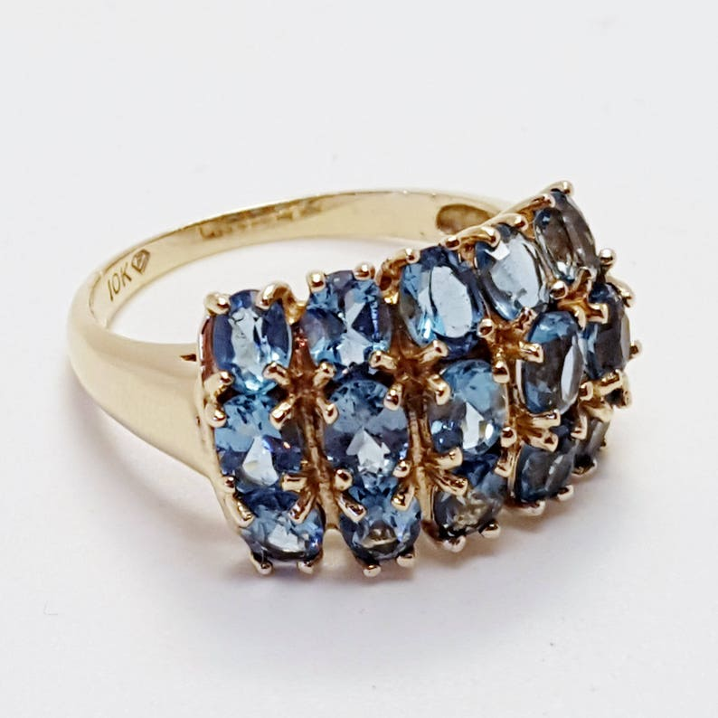 10k Yellow Gold Ring, Faceted Blue Topaz 3 Row Cluster Ring December  Birthstone Size 7, aquamarine color,