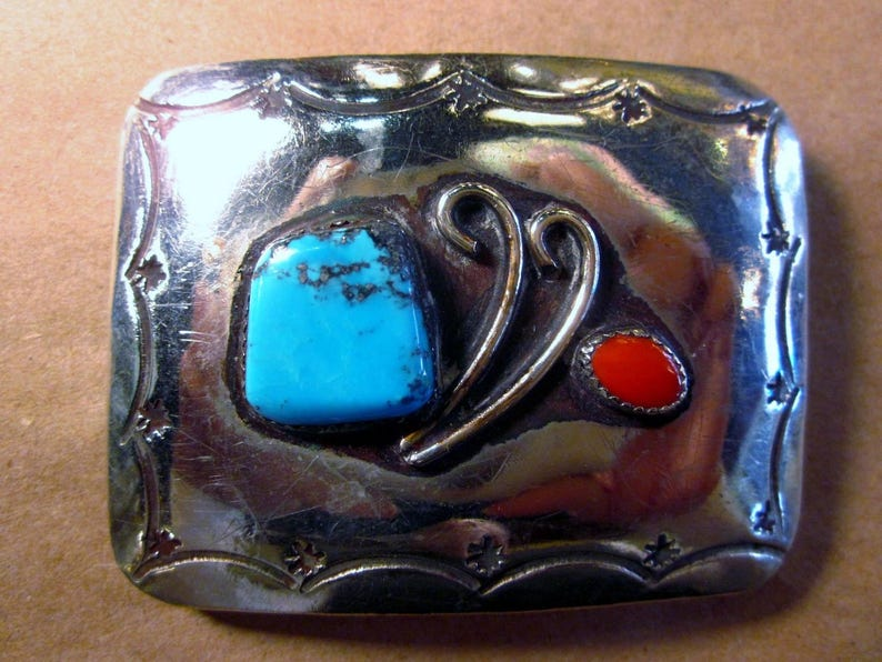 Vintage Navajo Sterling Silver Turquoise Coral Belt Buckle Sterling Belt Buckle Turquoise Belt Buckle Gift For Him Navajo Belt Buckle