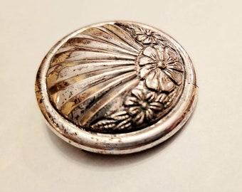 True Art Deco silver tone brooch
