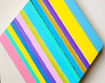 Diamond shaped Hard Edge Colorful Op-Art Abstract Geometric  painting on Canvas Mcm style art