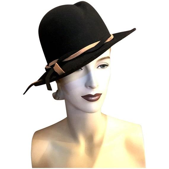 Vintage 1940s Wide Brim Womens Black Felt Fedora w