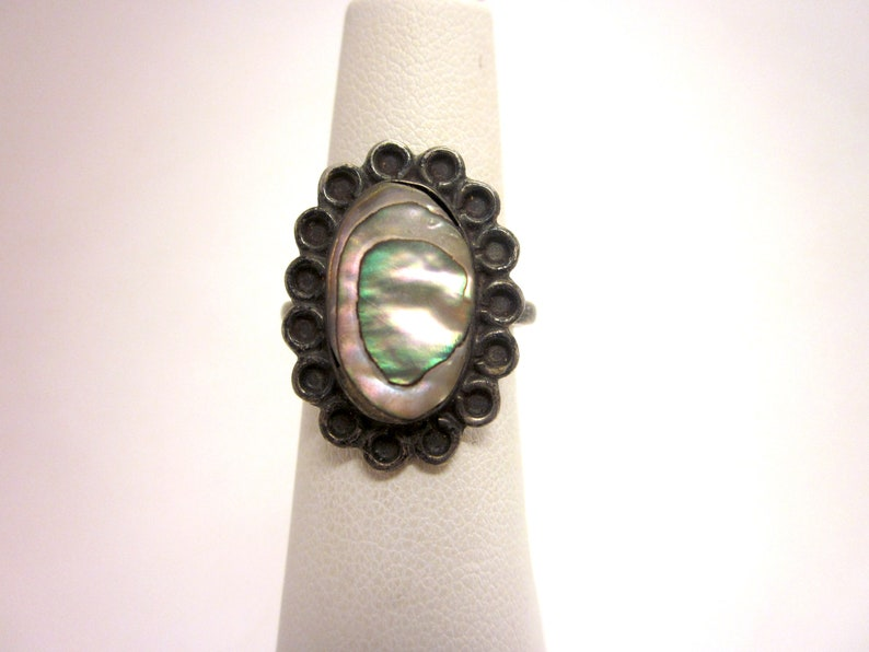 Vintage Mexican Sterling Silver and Iridescent Abalone Artisan Statement Ring with Delicate Details and Beautiful Patina