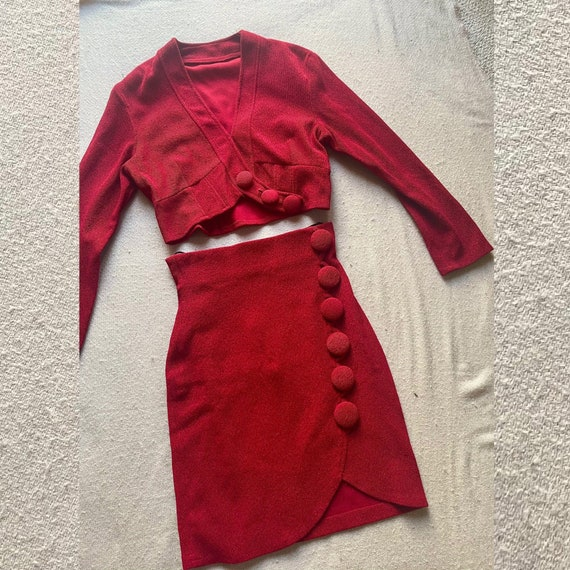 Vintage 1980's Red Mini Skirt and Crop Top Set