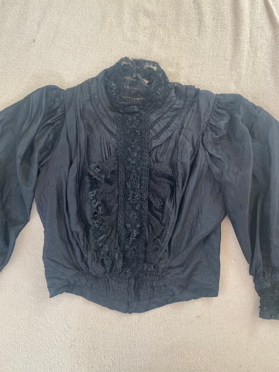Antique Victorian Black Lace and Embroidered Blous