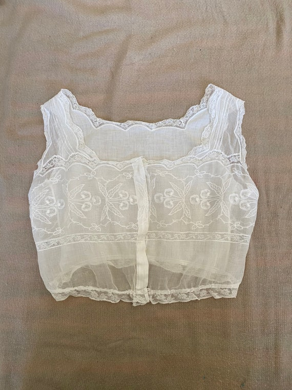 Antique Edwardian Cotton Lace and Embroidered Cher