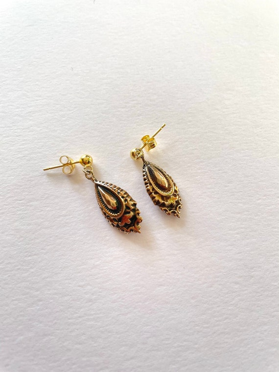 Antique Victorian 9ct Gold Dangling Earrings