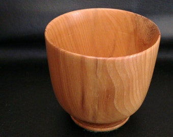 "Trinket Cup English Yew. Hand turned.2""H  2""D."