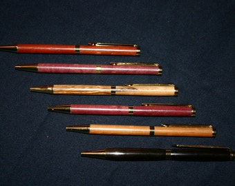Handmade Wooden Pen 24ct Gold Plated Slimline Twist Pens