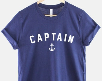 Captain T-Shirt - Nautical Shirt - Navy Blue Captain Shirt - Anchor Sailing Boat TShirt