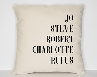 Family Names Throw Pillow / Personalized Name Cushion Covers / Custom Family Cushions