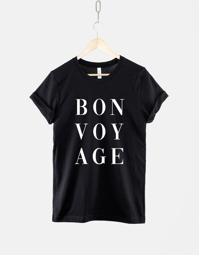 23 Best Travel Gifts for Her featured by top US travel blogger, Marcie in Mommyland: Bonvoyage TShirt / Travel Gift For Her / Adventure Awaits image 0