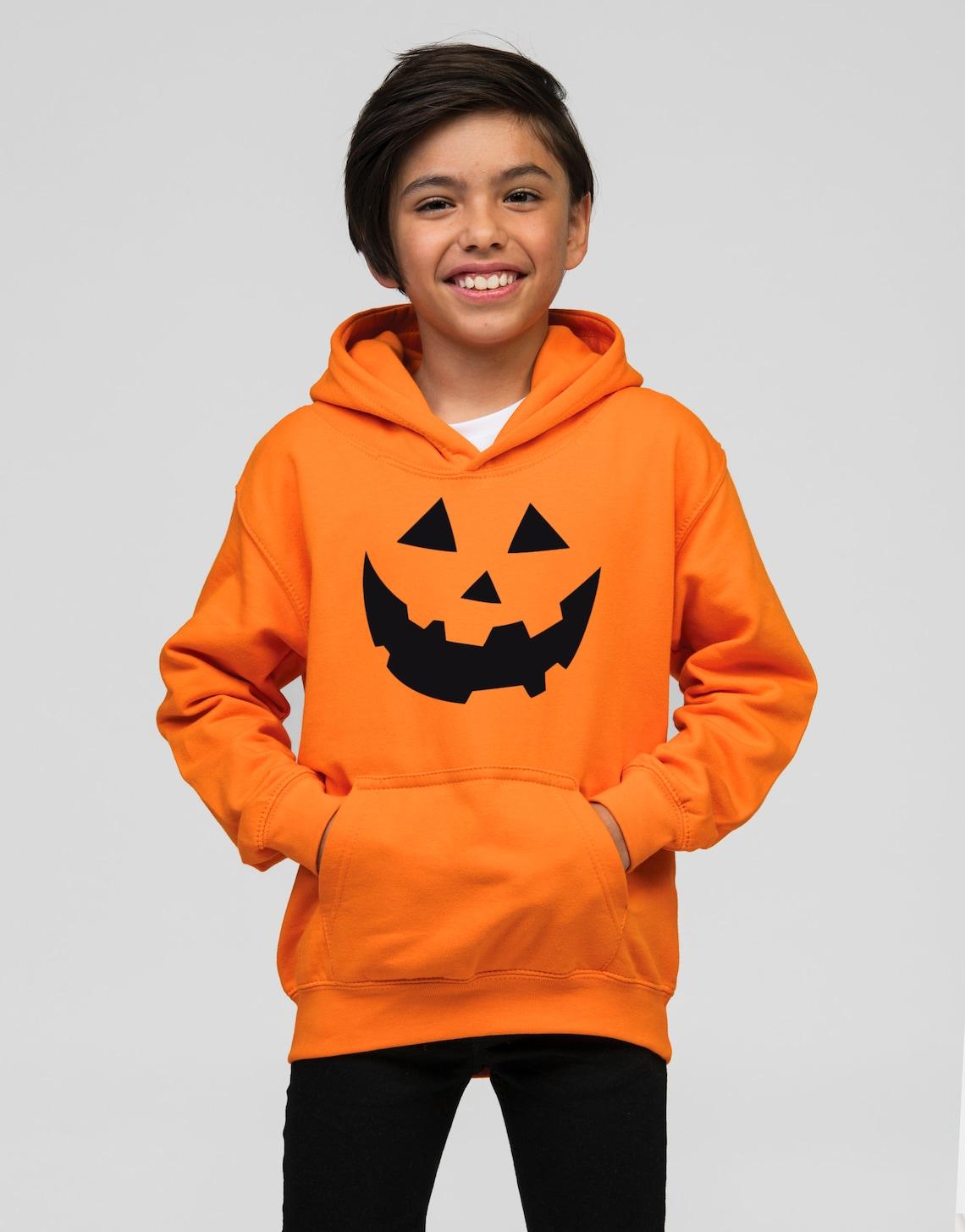 Orange Pumpkin Face Halloween Hoodie