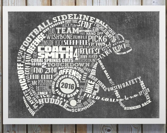 PERSONALIZED FOOTBALL Coach Gift - Football Helmet Artwork - Printable Football Wall Decor - Football End Of Season Gift - Football Mom