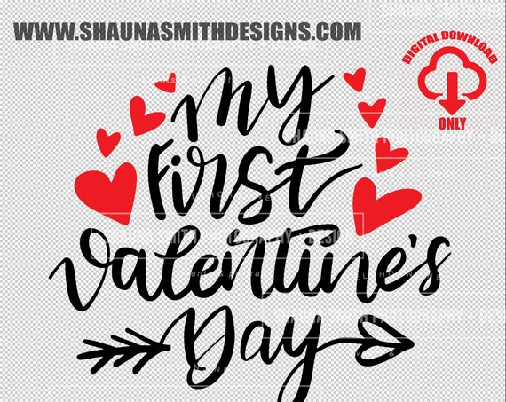 My 1st Valentines Day SVG My First Valentines Day SVG - Kids Valentines Day T-shirt - Heart Svg - Dxf Png Eps Sudio3  Silhouette - Cricut -