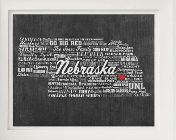 Personalized NEBRASKA Gift - Family Name Sign - Nebraska Gift - Nebraska Artwork - Nebraska Wall Decor - Add Family Names & Your Hometown