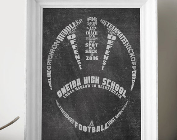 PERSONALIZED Football Artwork - Football Coach Gift - Football Wall Decor - Printed or Printable Football Art Print - Football Team Gift