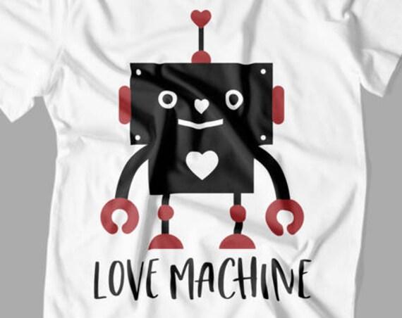 Love Machine SVG - Valentine SVG - Kids Valentines Day T-shirt - Valentines Day SVG - Robot Svg - Svg Files for Silhouette - Cricut -