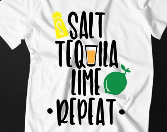 Summer SVG - Drinking SVG - Tequila SVG - Cocktails Svg - Cinco de Mayo Svg - Wine Svg Salt Tequila Lime Repeat Silhouette Circuit Svg Files