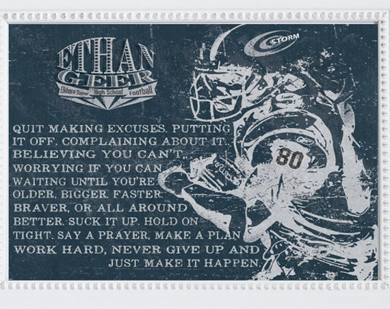 PERSONALIZED FOOTBALL Artwork - Add Player or Coach's Name, Team Name,  and Jersey number! Perfect Gift for a football player or coach!