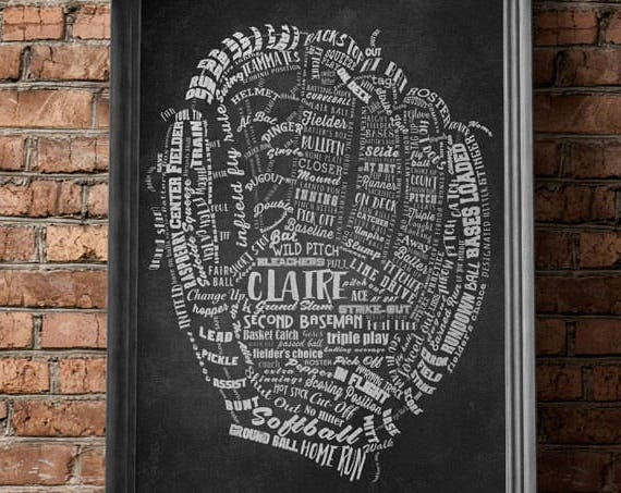 SOFTBALL Gifts BASEBALL Gifts PERSONALIZED Baseball Mitt Artwork Softball Mitt Wall Art Softball Coach Gift Baseball Coach Gift Softball Mom