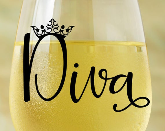Diva SVG - Wine Glass SVG - Princess SVG - Crown Svg - Cutting Files for Silhouette - Wine Glass Decal - Circuit Svg Files - Coffee Mug Svg