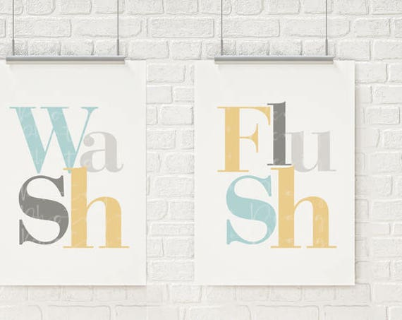 FULLY CUSTOMIZABLE Bathroom Wall Art Bathroom Artwork - Brush - Wash - Flush Bathroom Wall Decor Bathroom Art I can match any color scheme!
