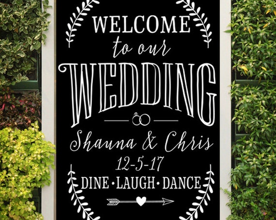 PERSONALIZED Welcome to Our Wedding SVG - Cutting File - Vinyl Cutting Decal - Wedding SVG - Files For Silhouette - Wedding Sign Svg Cricut