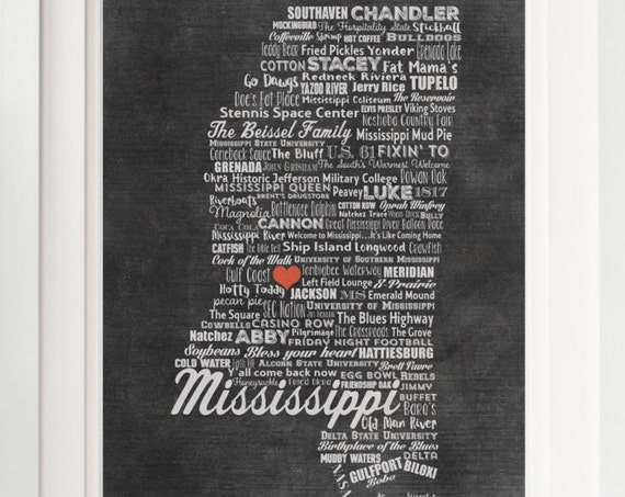 Personalized MISSISSIPPI Family Sign - Family Name Sign - Mississippi Gift - Mississippi Artwork - Mississippi Wall Decor - Ole Miss Gift