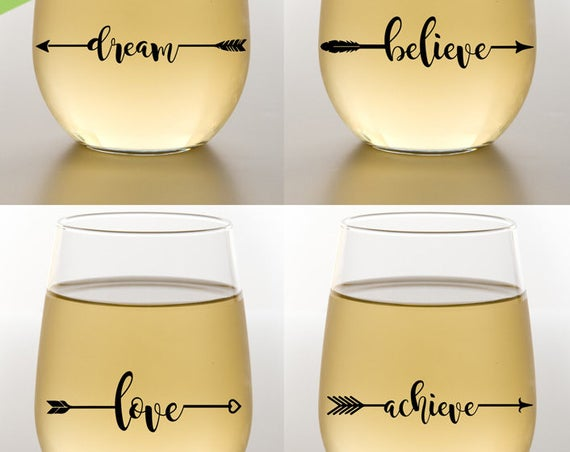 Arrows SVG - Inspirational Arrows SVG - Wine Glass Decal - Wine Glass Svg - Dream Believe Achieve Svg - Love SVG -  Dream Svg - Believe Svg