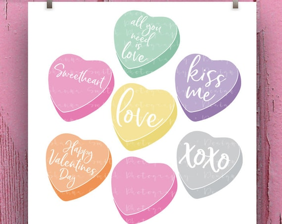 Candy Hearts SVG - Valentine SVG - Kiss Me Svg - Valentines Day SVG - Love Svg - Svg Files for Silhouette - Cricut Svg - xoxo Svg Sweetheart