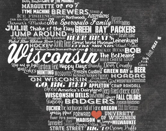PERSONALIZED Wisconsin Printable - Family Name Sign - Wisconsin Wall Decor - Wisconsin Wall Art - Wisconsin Gift - Wisconsin Badger Gift