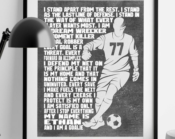 SOCCER GOALIE Gifts - PERSONALIZED Soccer Gifts - Soccer Goalie Artwork - Soccer Goalie Wall Art - Man & Woman Versions - Soccer Coach Gift