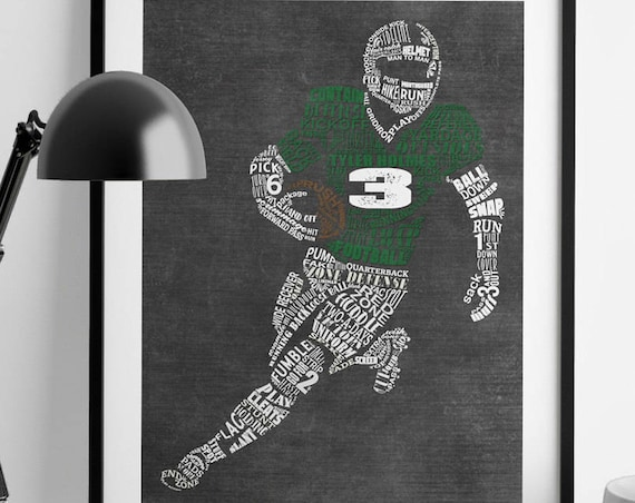 PERSONALIZED FOOTBALL Mom Gift - Football Senior Gift - Football Coach Gift - Football Art Football End Of Season Gift Football Wall Decor