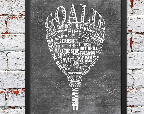 LACROSSE Goalie Gifts PERSONALIZED Lacrosse Wall Art Printed or Printable Lacrosse Wall Decor Lacrosse Gift Lacrosse Coach Gift Lacrosse Mom