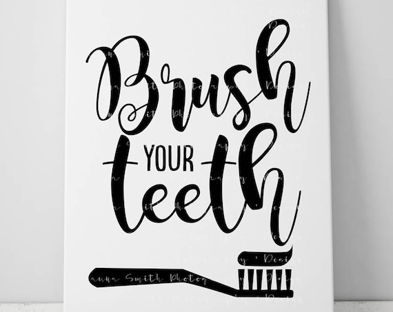 Bathroom SVG - Brush Your Teeth SVG - Bathroom Art SVG  - Circuit Svg Files - Svg files for Silhouette - Cut Files - Bathroom Decor Svg