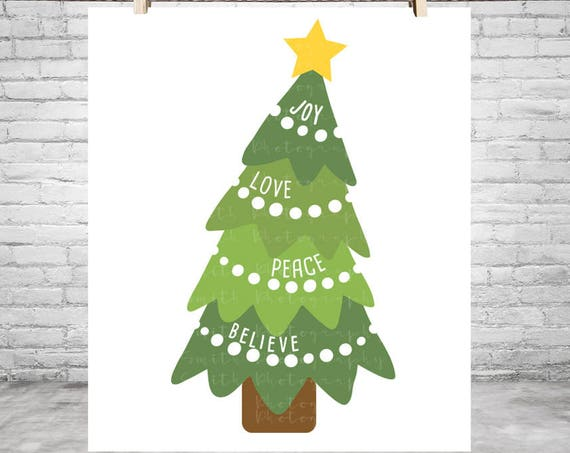 Christmas Tree SVG Peace Svg Love svg Joy svg Believe Svg Christmas SVG Christmas Decorations Svg Files for Silhouette Svg Files for Cricut