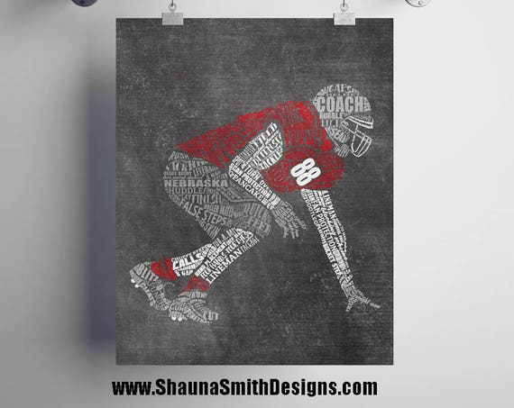 FOOTBALL Lineman Gift - PERSONALIZED Football Gift - Printed or Printable - Football Coach Gifts - Football Team Gift - Football Mom - Art