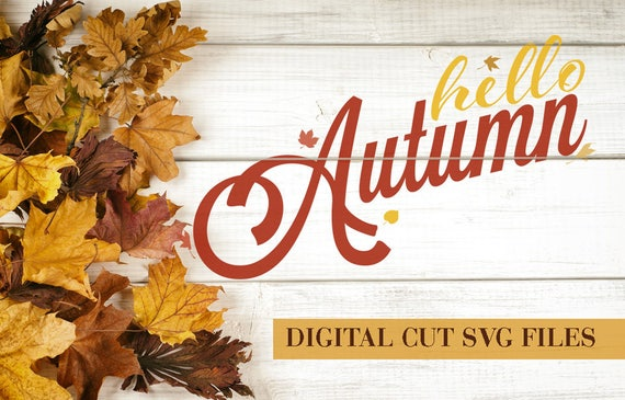 Hello Autumn SVG Cutting File SVG files for Silhouette Cameo Svg Cutting Files Halloween SVG Autumn Svg Leaves Svg Leaf Svg Thanksgiving Svg