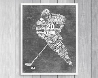 PERSONALIZED HOCKEY Gift- Hockey Coach Gift - Hockey Wall Art - Printed or Printable - Hockey Decor - Hockey Mom - Hockey Senior Gift
