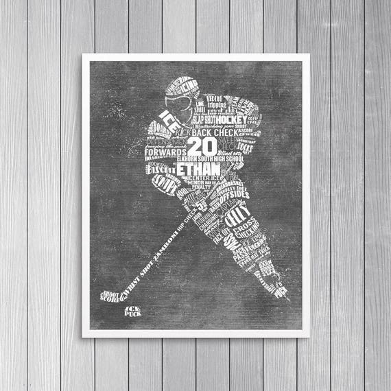PERSONALIZED HOCKEY Gift- Hockey Coach Gift - Hockey Wall Art - Printed or Printable - Hockey Decor - Hockey Mom - Hockey Senior Gift