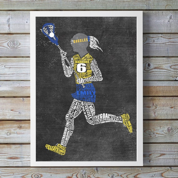 Personalized GIRLS LACROSSE Gift - Lacrosse Coach Gift - Lacrosse Wall Decor - Lacrosse Artwork - Lacrosse End of Season Gift - Lacrosse Art