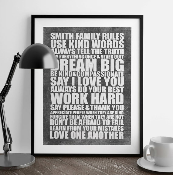 PERSONALIZED Family Rules Sign - Family Rules Subway Art - Printed or Printable Family Rules Wall Decor - Family Rules Wall Art - Add Rules!