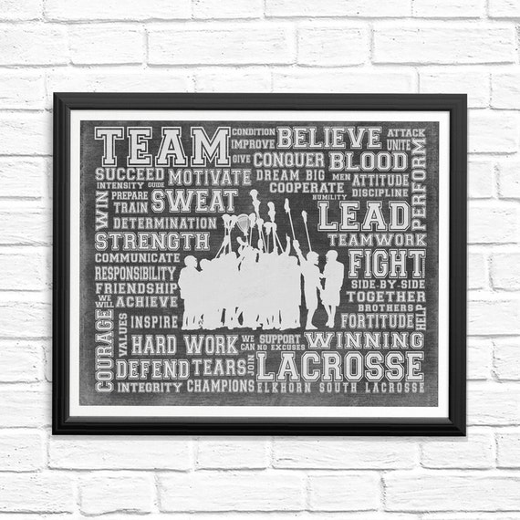 Personalized Team LACROSSE Word Art - Add your team name! Girls Lacrosse,  Boys Lacrosse- Perfect gift for your Lacrosse Player or Coach!
