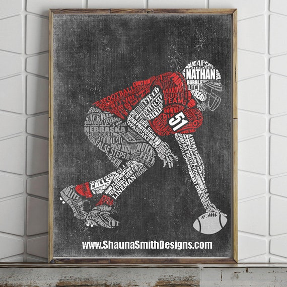 FOOTBALL Center Gift - PERSONALIZED Football Gift - Printed or Printable - Football Coach Gifts Football Team Gift Football Mom Football Art
