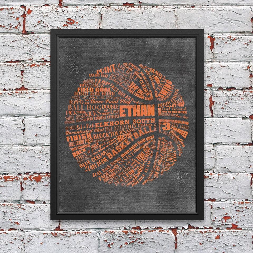 8c60b14bb31 PERSONALIZED BASKETBALL Coach Gift - Basketball Wall Decor - Basketball  Senior Gift - Basketball Art - Basketball Gift Basketball Team Gift