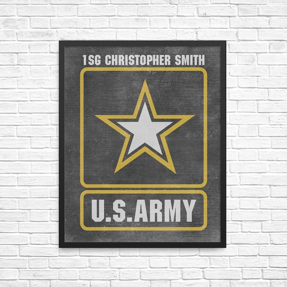 Military Retirement Gift - Army Retirement Gift - PERSONALIZED US Army Artwork - US Army Gift - Soldier Gift - Army Wall Decor - Us Army Art